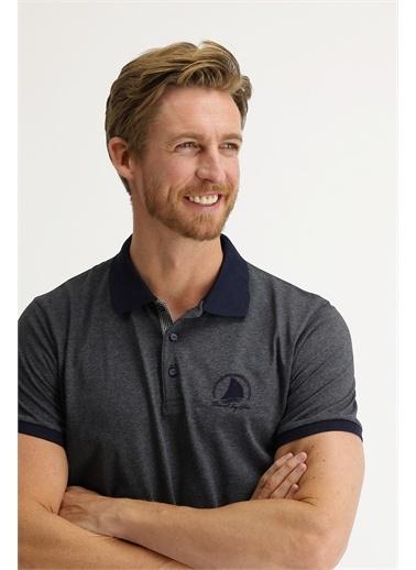 Kiğılı Kiğılı KY21BP Polo Yaka Kısa Kollu Desenli Slim Fit Erkek TShirt Gri